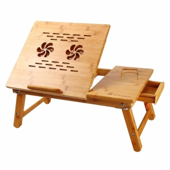 Laptop Desk Super Top Laptop Table 100% Bamboo Desk Adjustable withUSB Fan2 Foldable Breakfast Serving Bed Tray Drawer - intl