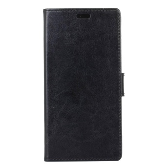 Leather Wallet Case Magnetic Flip Stand Cover for LG Q6 (Black) -intl