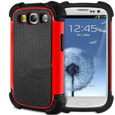 Leegoal Red PC Black Silicone Combo Hybrid Impact Armor Case Cover for Samsung Galaxy S3 i9300