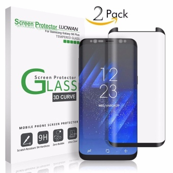 LUOWAN Galaxy S8 Plus Glass Screen Protector,[2 pack] New Curved Tempered Glass Screen Protector Film [Non-full screen][Bubble Free ][Scratch Resistant][Easy Installation] For Samsung Galaxy S8 Plus 6.2 inch(Black) - intl