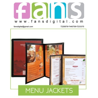 (MB008) Tri-fold Menu Jacket,Menu Holder 3 Pages with 6 views withcorner metal clip