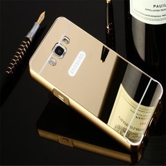 Metal Frame Mirror Back Cover Case For Samsung Galaxy J7 2016 (Gold) - intl