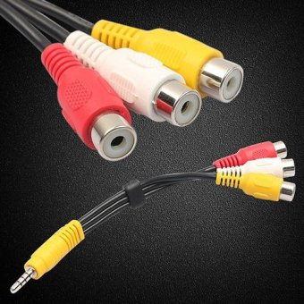 New Arrival Black 3.5mm Plug Male to 3 RCA Female Adaptor AudioVideo Cable Connector - intl