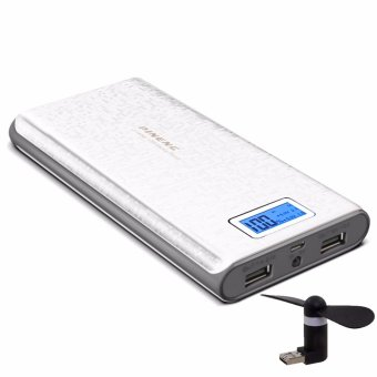 Pineng PN-920 20000mAh Power Bank (White/Gray) with 2 in 1 Portable Mini Micro USB Fan (Color May Vary)
