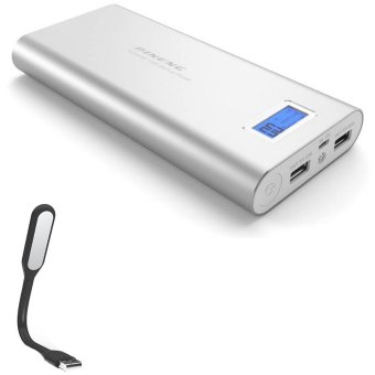 Pineng PN-989 20000mAh Power Bank (Silver) with USB LED Light (Color May Vary)