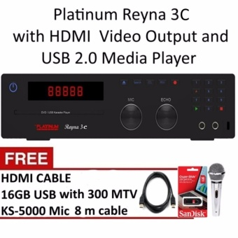 Platinum Reyna 3C DVD Karaoke Player with 18000 Songs, Free Mic,Free USB with 300 MTV, Free HDMI Cable