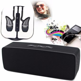 Portable Bluetooth Dual Speakers Ultra Bass (Black) with ADAMASHigh Quality Unique In-Ear Phone Headset (Black)