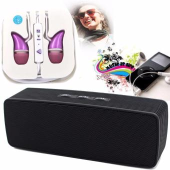 Portable Bluetooth Dual Speakers Ultra Bass (Black) with ADAMASHigh Quality Unique In-Ear Phone Headset (Pink)