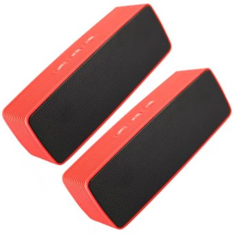 Portable Bluetooth Dual Speakers Ultra Bass (Red) Set of 2