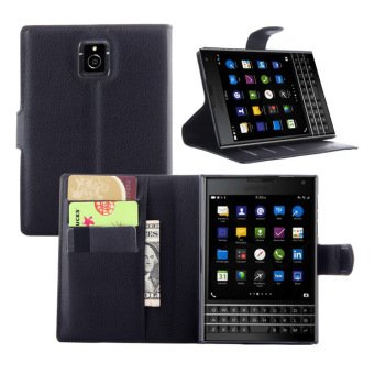 PU Leather Wallet Case Cover for BlackBerry Passport Q30 (Black) -intl