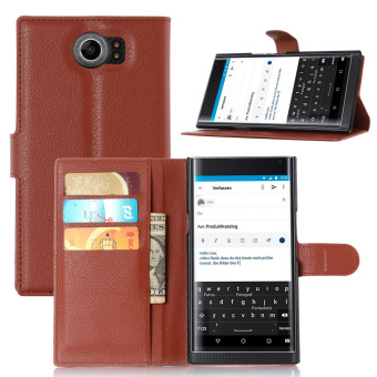 PU Leather Wallet Case Cover for BlackBerry Priv (Brown) - intl