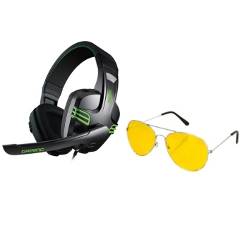Salar KX-101 Over-the-Ear Gaming Headset (Black) With Night ViewGlasses (Yellow)