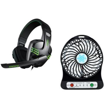 Salar KX-101 Over-the-Ear Gaming Headset (Black) With PortableLithium Battery Fan Power Bank Function
