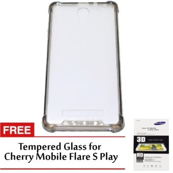 Shock-proof Back Case for Cherry Mobile Flare S Play (Black) withfree Tempered Glass for Cherry Mobile Flare S Play (Clear)