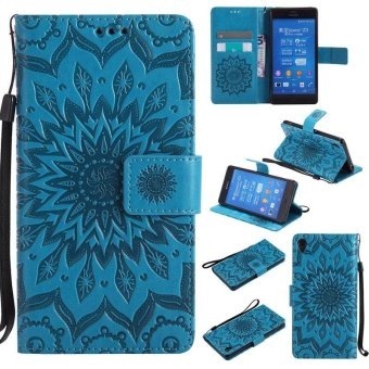 Sunflower pattern PU Leather Wallet Stand Flip Case Cover For SonyXperia Z3 Case - intl