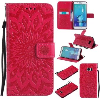 Sunflower pattern PU Leather Wallet Stand Flip Case Cover ForSamsung Galaxy S6 Edge Plus Case - intl