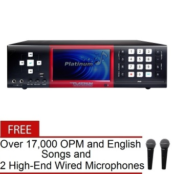 "The Platinum X-100 7"" DVD LCD Karaoke Player (Black) with FREE Over 17,000 OPM and English Songs and 2 High-End Wired Microphones"