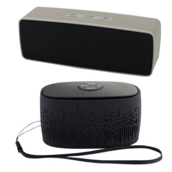 Ultra Bass Dual Portable Bluetooth Speakers (Gray) with C-88Portable Bluetooth Mini Music Box Speaker (Black)
