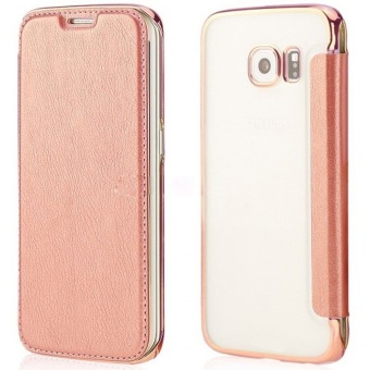 Ultra Clear Slim Case with Flip Cover for Samsung Galaxy S7 Edge(Rose Gold)