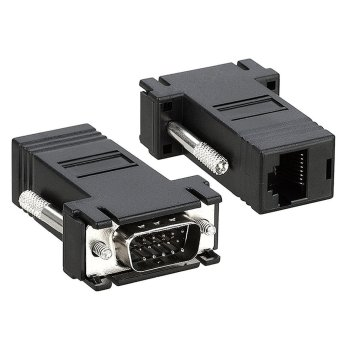 VGA DB15 to RJ45 Ethernet Converter Adapter Set of 2