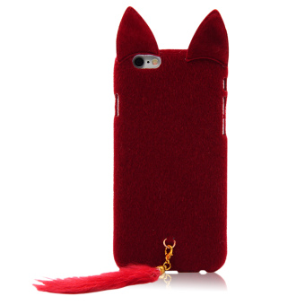 Vococal Fluffy Tail Cat Style Protective Case for iPhone 6/ 6s 4.7Inches (Red)
