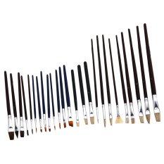 ... Wooden Handle Nylon Hair Artist WatercolorOil Painting Brush Pen Set