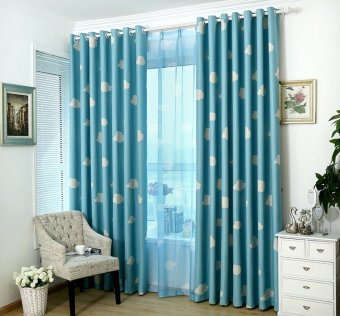 1 PC 100x250cm Cloud Pattern Window Blockout Curtain Panel Eyelet Drape Blue