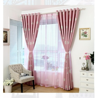 100*250cm Cloud Pattern Window Curtain Screen Sheer Valance Voile Pink