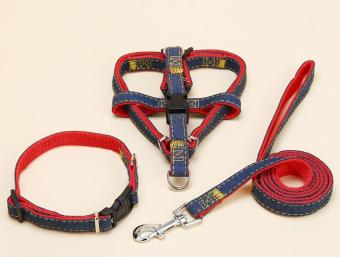 1.0*120cm Jean Dog Pet Collar/Harness+Leash Set for Cat SmalDogs(red) - intl