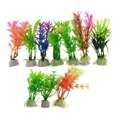 PHP 428 10pcs Green/Purple Plastic Grass Artificial Aquarium Simulation Plant Fish Tank ...