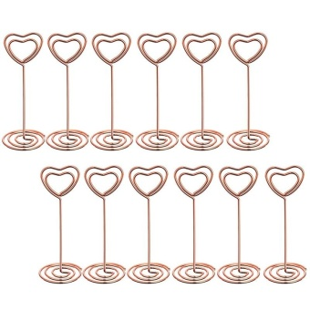 12 Pcs Rose Gold Heart Shape Photo Holder Stands Table Number Holders Place Card Paper Menu Clips for Weddings - intl
