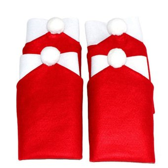 2016 High Quality 6 pcs Santa Clause Red Hat Chair Back CoverChristmas Party Decor For Christmas(red)