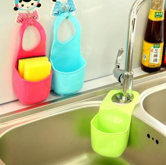 2016 New Kitchen bathroom accessories Sink Sponge Hanging PVCShelving Rack Drain Faucet Storage Pail Shelves hanging shelf