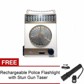 3-in-1 Solar Light Fan (White/Champagne) with FREE Rechargeable Police Flashlight with Stun Gun Taser (Black)