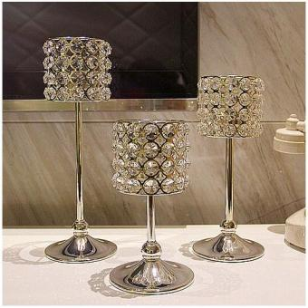 3 pcs Silver Plated Candle Holder with Crystals Wedding Candelabracenterpiece Decoration Marriage Candlestick - intl