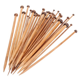 36Pcs/set 25cm Carbonized Bamboo Knitting Needles Set SinglePointed Smooth Crochet Needles Loom Knitting Tools 18 Sizes 2-10mm- intl