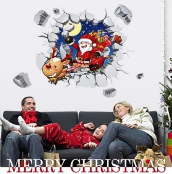3D Santa Christmas Xmas Gift Removable Wall Sticker Art Home DecorDecal - intl