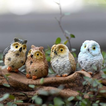 4pcs Cute Animal Resin Owls Miniatures Figurine Craft Bonsai PotsHome Fairy Garden Ornament Decoration Moss Terrarium Decor - intl