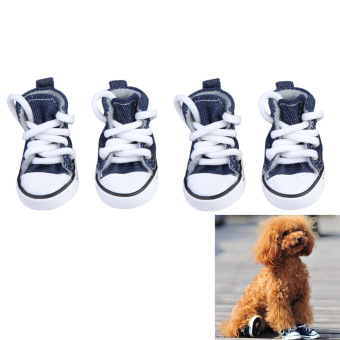 4pcs Pet Dog Puppy Sports Canvas Shoes Boots (Dark Blue) 5.5*3.8cm