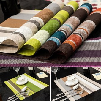 4pcs PVC Striped Placemats Insulation Western Dining Table Colour Mats - intl