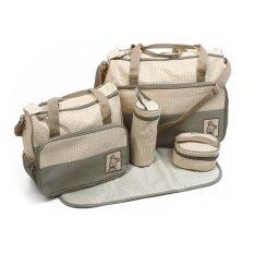 designer baby diaper bags for cheap z3l1  5-piece Baby Changing Diaper Nappy Bag Handbag Multifunctional Bags Set  Sage
