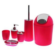 6 piece plastic bathroom accessory set red