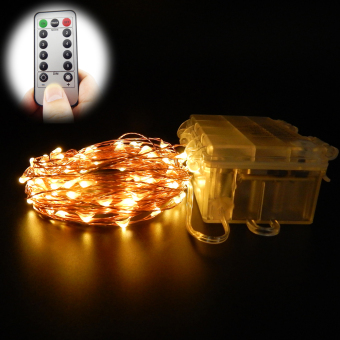 6m 60 Leds 16.5Ft 8 Modes Waterproof Warm White Battery OperatedLED String Lights Fairy lights Christmas lights with Remote Control(Warm White)