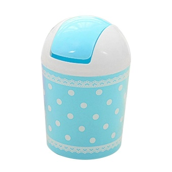 Allwin Fashionable Mini Lace Dot Point Printed Trash Can Garbage Dust Case Tank - intl