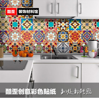 Bohemian waterproof kitchen bathroom wall paper multi-color adhesive paper