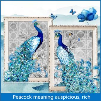 Candy Online 2 IN 1 Peacock DIY 5D Diamond Painting Cross StitchFull Drill Rhinestone Painting Decor (8002+8001)