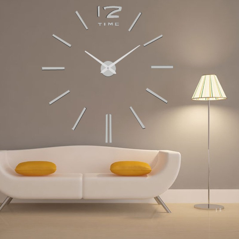 Frameless 3d mirror wall clock home office diy large hour for 3d acrylic mirror wall sticker clock decoration decor