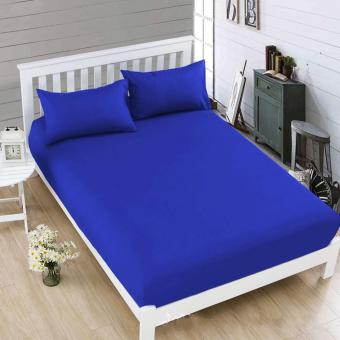 Celebrity Bedsheet Plain Royal Blue Queen Size Fitted Sheet BeddingSet of 3