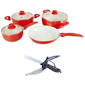 Ceramic Pan 7-piece Set - (Red) with 2 in 1 Clever Cutter Knife& Cutting Board Scissors Slicers