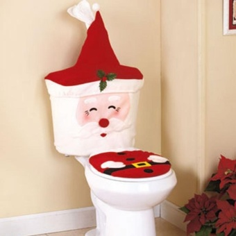 Christmas Decoration Happy Santa Claus Toilet Seat And Tank CoverSet - intl